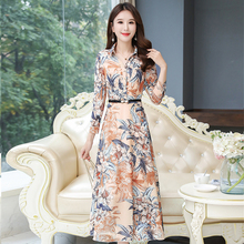 Korean Chiffon Dress Women High Waist Long Dress P