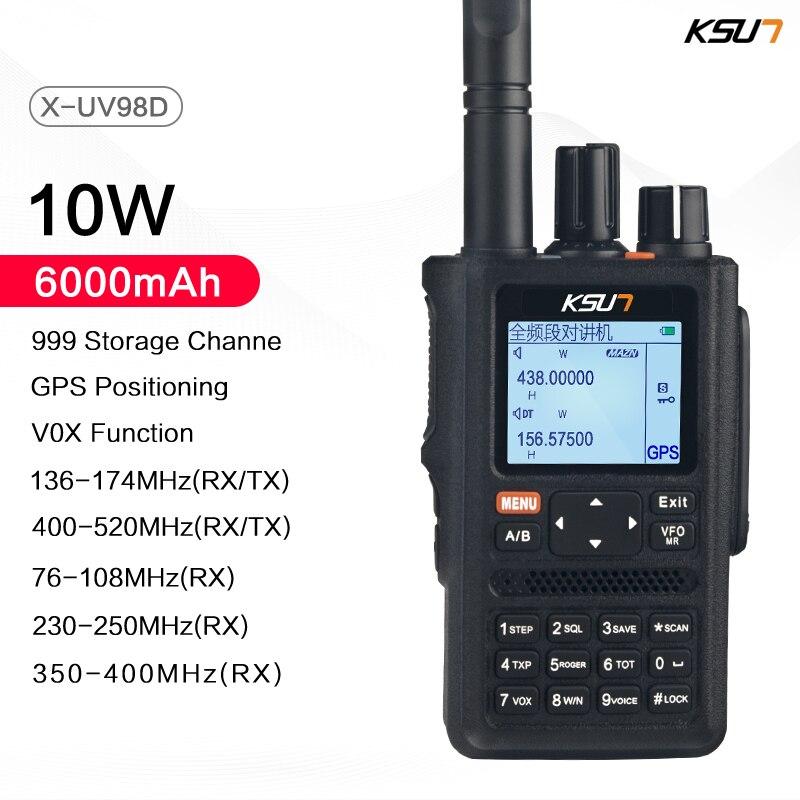GPS-рация KSUN UV98D, приемопередаточная радиостанция с шестью диапазонами, 999CH CTCSS DTMF VOX SOS, дальность действия 10 км
