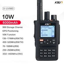Ksun uv98d gps walkie talkie seis faixas de frequência 999ch ctcss dtmf vox sos 10km rádio em dois sentidos walkie talkie longo alcance
