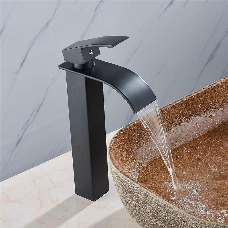 Черный Высокий стиль 1/2 дюйма латунный современный смеситель для ванной комнаты кран с носиком для ванной горячей и холодной воды Смеситель...