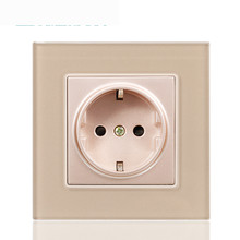 Crystal Glass Panel 16A EU Standard Wall Power Socket Outlet Grounded With Child Protective Lock Type 86 Concealed Regulations livolo new power socket eu standard cherry wood outlet panel 2gang wall sockets with touch switch c701 21 c7c2eu 21
