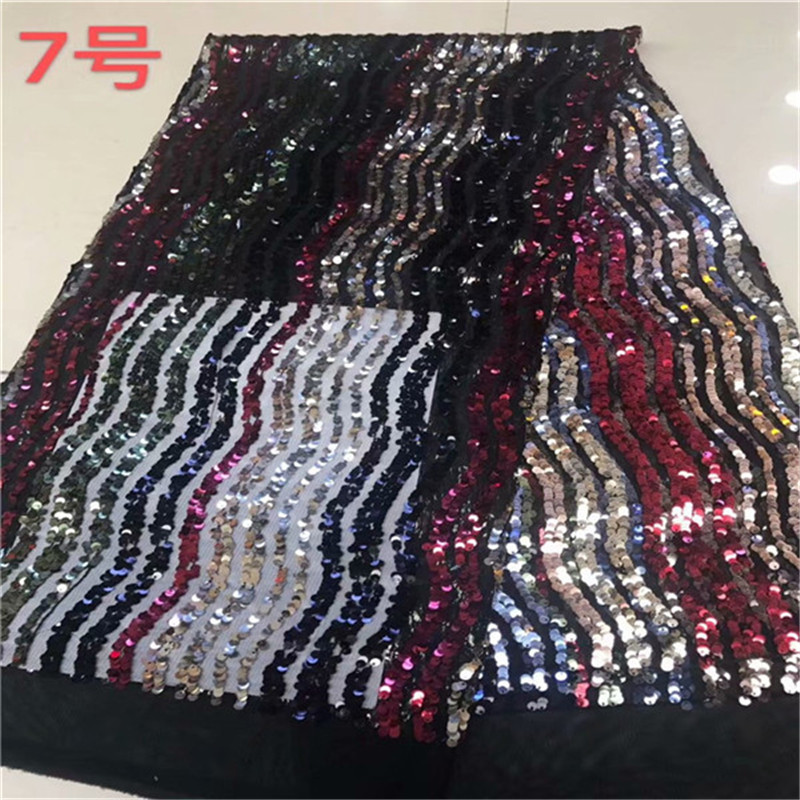 2019 High quality Sequins french multicolor African tulle mesh lace fabric for dress,guipure voile net lace nigerian 5y/lot