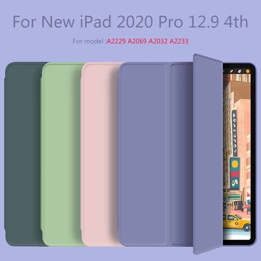 For New iPad pro 12 9 inch 2020 Smart case Tri fold soft bracket cover for