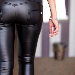 Image 4 - מלודי ארבע דרכים Stretchable גבוה מותניים עור מכנסיים עם צמר מרופד חורף חם רוכסן לטוס Faux עור חותלות