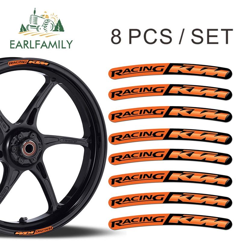 EARLFAMILY 13cm X 1.3cm 8x For KTM Racing Rim Stickers Wheel Stripes Set Car Motorbike Motorcycle Moto GP R48 Car Styling