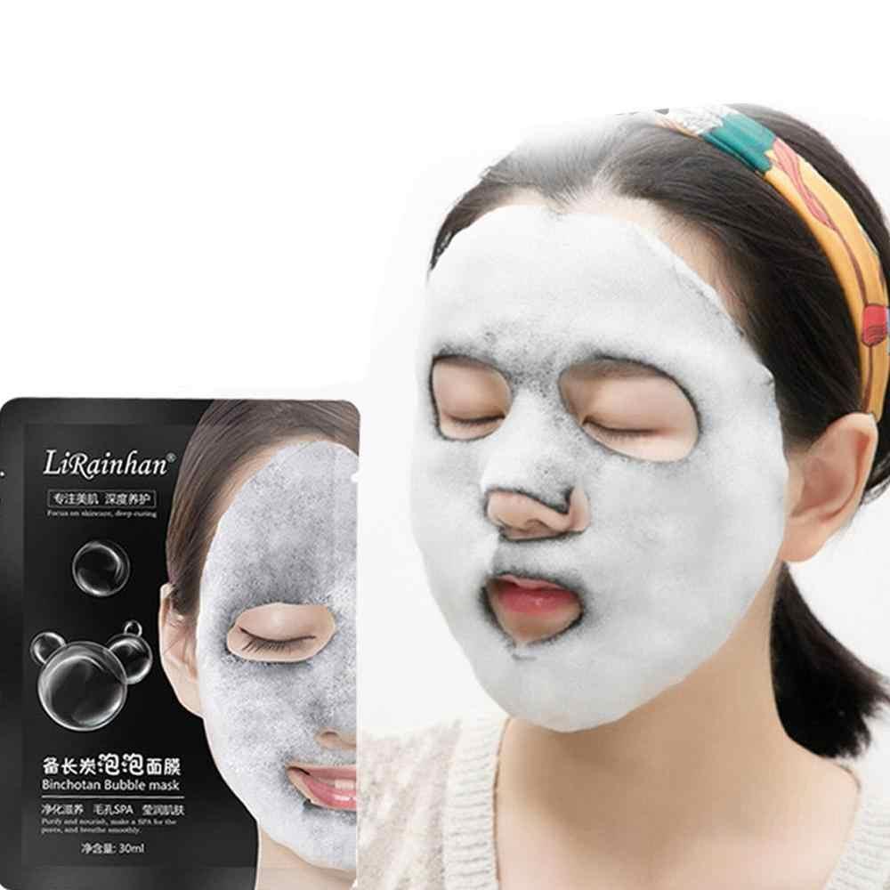 Oxygène naturel charbon de bois bulle feuille noire masque contrôle de l'huile masque Facial enlèvement des points noirs masque Facial coréen soins de la peau