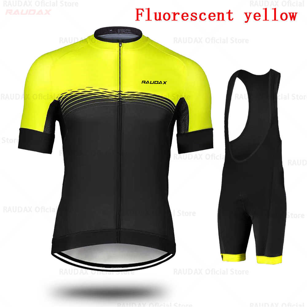 Camiseta de Ciclismo de raudix 2019 amarillo fluorescente Ropa de Ciclismo de MTB pantalones cortos de Ciclismo Conjunto de camiseta de triatlón Ropa Ciclismo