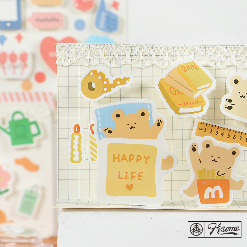 SIXONE Ins Cartoon Flower Bear Adhesive Sticker Creative Kawaii Fresh Notebook Hand Account Decoration Sticker Sealing Sticker