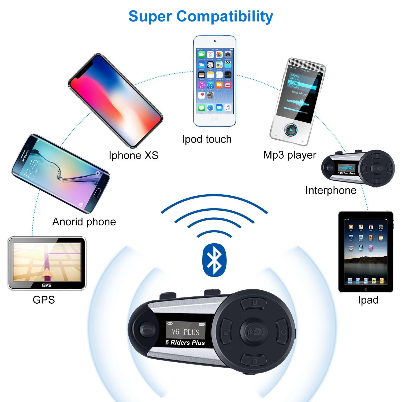 2Pcs Fodsports V6 Plus Motorrad Helm Bluetooth Wasserdichte Headset Intercom 6 Fahrer Wireless Intercomunicador Sprech FM