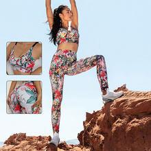 Seamless Yoga Set 2021 New Women Fitness Yoga Set Sports Suits High Waist Leggings+Push Up Bra High Waist Leggings Crop Top Bra