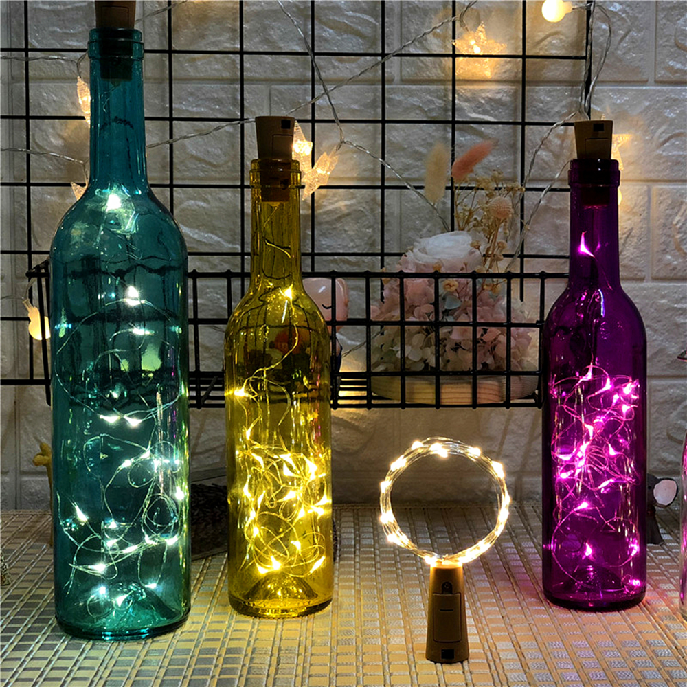 2M 20LEDs Copper Wire String Light Battery Operated Wine Bottle Stopper Waterproof DIY Cork LED Lights For Christmas Decorative