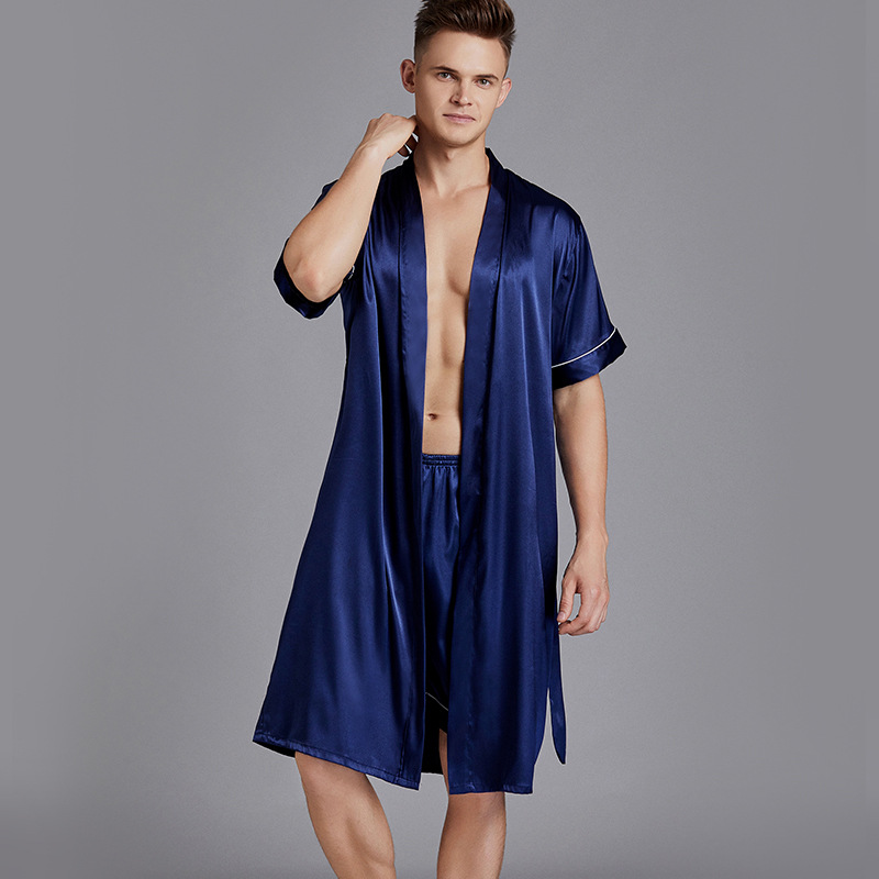 Oversize 3XL Men 2PCS Sleepwear Robe&Shorts Set Male Satin Silky 2PCS Nightwear Intimate Lingerie Casual Kimono Robe Gown