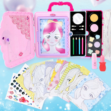 1 Set Makeup Painting Toys Lovely Multi-function Handle LED Colorful Make up Cosmetics Suitcase Toy Drawing Board For Girls Kids