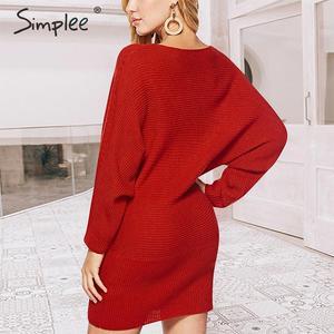 Image 2 - Simplee уличное трикотажное платье, сексуальное однотонное мини платье с круглым вырезом и рукавами «летучая мышь», повседневное шикарное осеннее платье пуловер