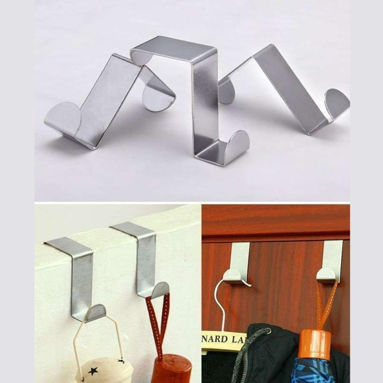 2PCS Over Door Hook Stainless Kitchen Cabinet Clothes Hanger Organizer Holder