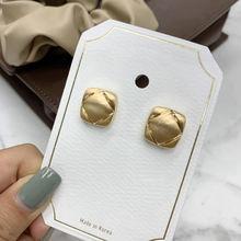 Новые винтажные модные золотые металлические квадратные серьги