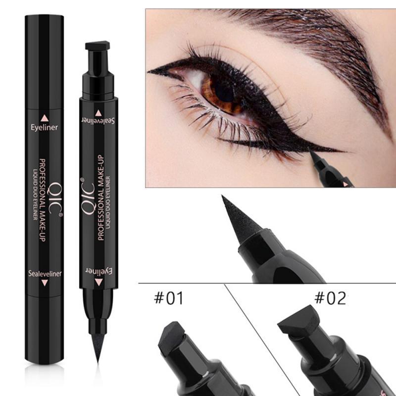 Подводка для глаз QIC, жидкая водостойкая двухсторонняя марка для глаз, ручка для глаз со стрелками, макияж глаз, косметический инструмент дл...