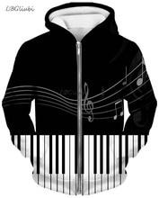 LBG 2019 new 3D printing piano zipper hoodie men and women fashion outdoor gorgeous casual sweatshirt