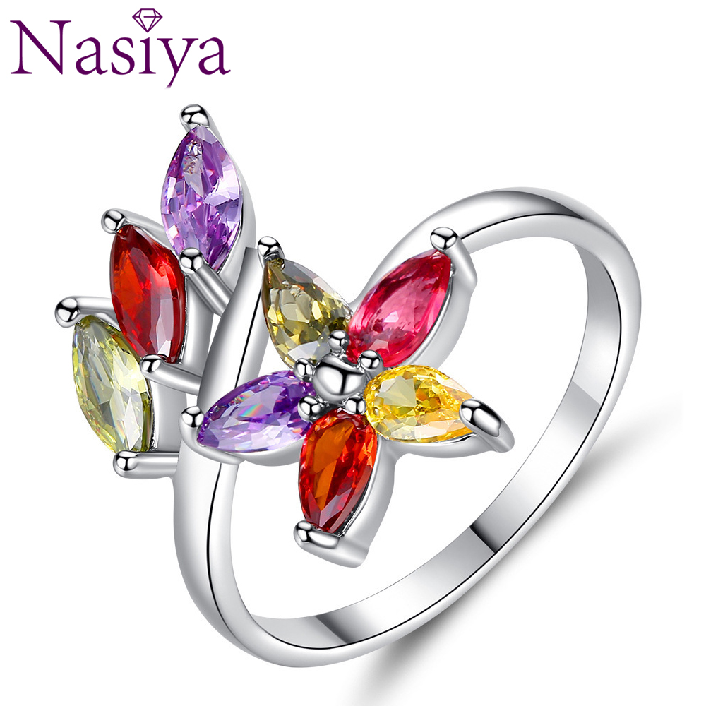 Creative Colored Zircon Rings Women's Simple Couples Ring Gemstone Silver Ring For Girls Lady Party Anniversary Gift