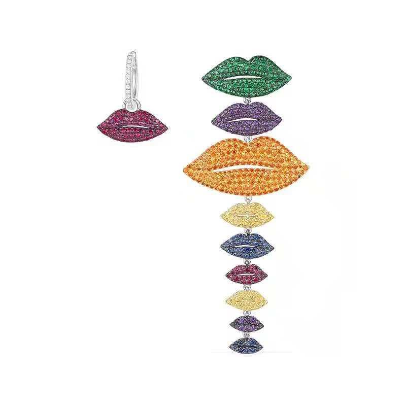Hot marque 925 bijoux en argent Sterling multicolore longues lèvres boucles d'oreilles rouge Orange zircone pierres Yao Chen Collection femmes bijoux