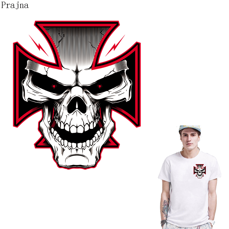 Prajna Cross Skull Patch Iron On Transfer For Clothes Stripes Vinyl Heat Transfer Thermal Ironing Stickers Applique Rock Badge