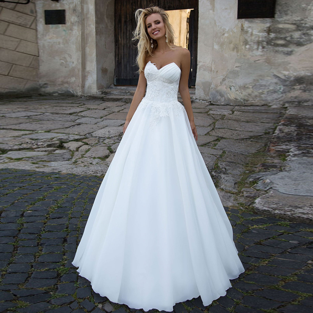 LORIE 2020 White Chiffon Lace Appliques Bridal Gown Beach Sleeveless Back Lacing Wedding Dresses Princess Wedding Party Gowns