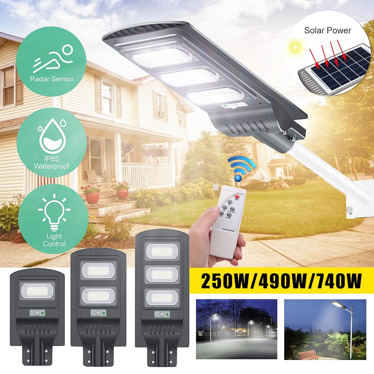 Smuxi 250W/490W/680W LED Gray IP65 Solar Street Light Radar Motion Constantly Bright Induction Solar Sensor Remote Control