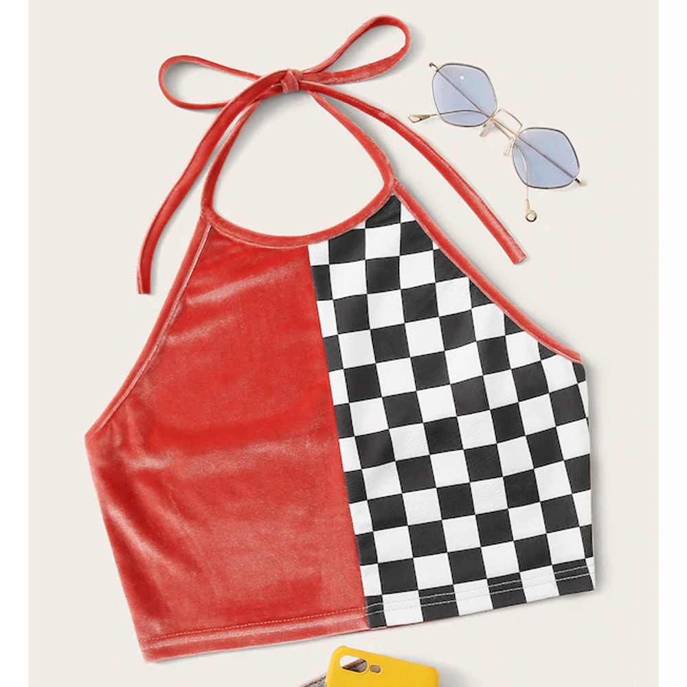 夏の格子縞のカラーブロッククロップトップセクシーなバックルトップホルタータンクトップ女性ベルベット Bralette 作物丈ストリート