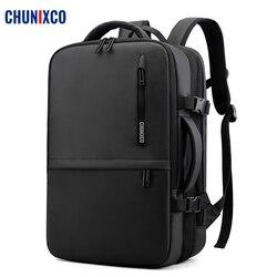 CHUNIXCO hommes sacs à dos ajustement 17 pouces ordinateur portable extensible sac de voyage USB charge sac à dos grande capacité homme sac antivol Mochila