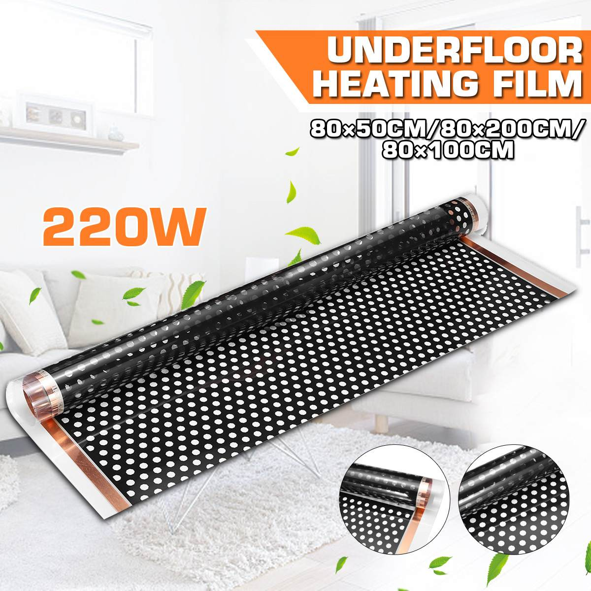 80x200cm 220W Electric Heating Mat Underfloor Heating Film Infrared Warm Floor Heating Film Electric High Quality Carbon Fiber