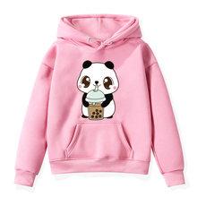 Children the cute corgi panda cat drinks milk tea hoodies kids
