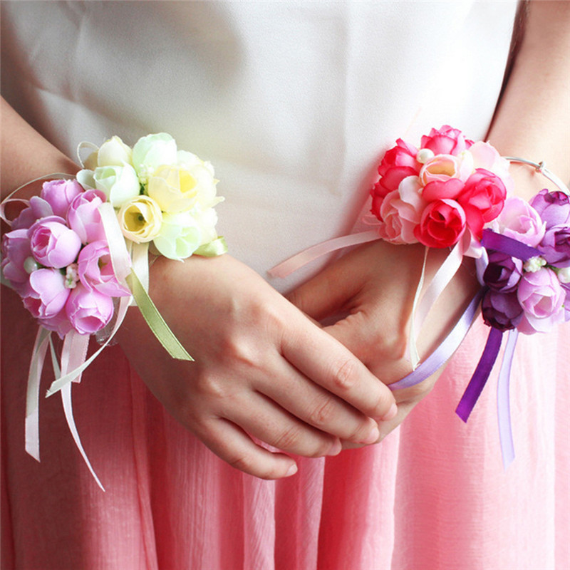 Wrist Flower Bridesmaid Sisters Hand Flowers Exquisite Artificial Bridal Flowers For Wedding Dance Arty Bridal Prom Decoration