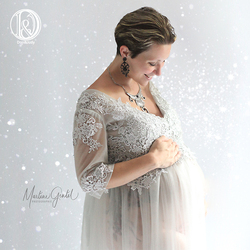 D&J Maternity Dresses Sexy Women Pregnant V Neck Embroidered Tulle Long Maxi Gown Pregnancy Dress Art Photo Dress High Quality