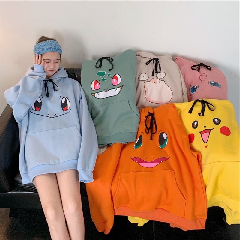 Spring Autumn Harajuku Women's Sweatshirt Hooded Long Sleeve Hoodies Women Pika Printed Fleece Hoody Pullover Sweat Femme Loose