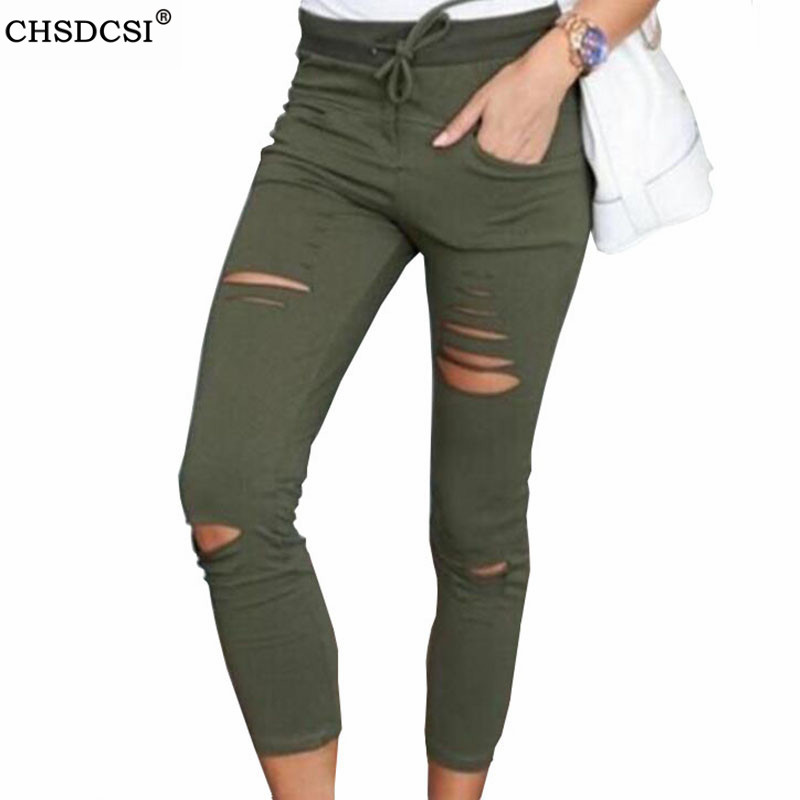 CHSDCSI Skinny Jeans Women Denim Pants Holes Knee Pencil Pants Casual Trousers Black White Stretch Ripped Jeans Plus Size 4XL