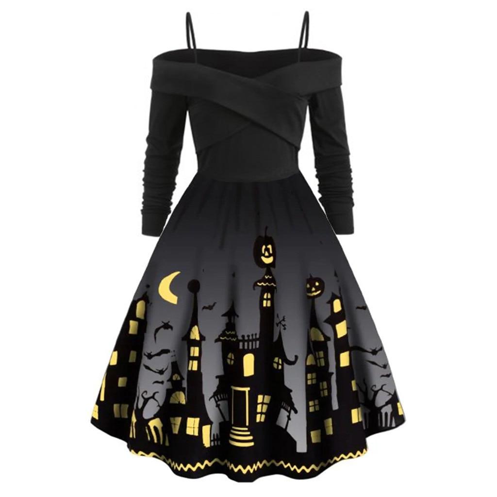 Women Pumpkin Party Print Dress Halloween Long Sleeve V 5