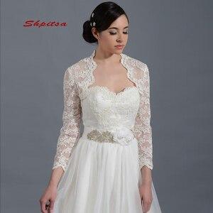 White Or Ivory Lace Long Sleeve Wedding Wape Jacket Bridal Wrap Bolero Shrugs for Women(China)