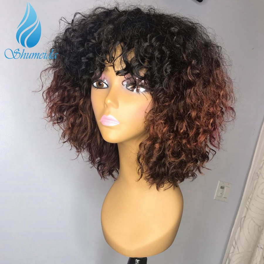 250% Density Ombre Color Lace Front Human Hair Wigs With Bangs Brazilian Remy Hair Curly Glueless Lace Wigs With Baby Hair