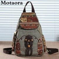 Motaora-mochila de lona Vintage hecha a mano para mujer, morral con estampado geométrico de estilo nacional, mochila de viaje sencilla para mujer