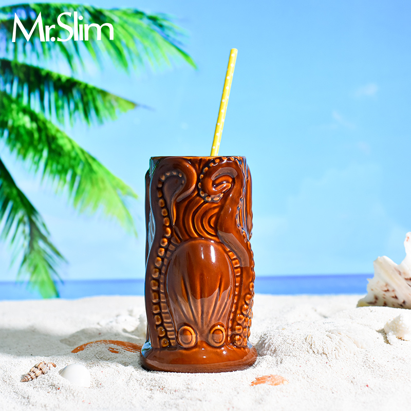 Octopus Hawaii Tropic TIKI Bar Cocktail Cup Sandy Beach Special Drinks Tumbler Indian Skull Mug Smoothie Mixing Wine Beer Glass