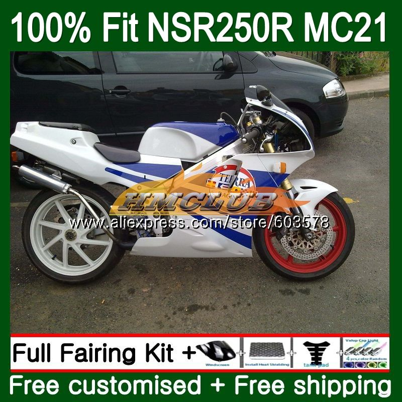 Injection For HONDA NSR250R MC21 PGM3 1990 1991 1992 1993 101CL.87 <font><b>NSR</b></font> <font><b>250</b></font> R NSR250 RR <font><b>NSR</b></font> 250R 90 91 92 93 White Blue Fairing image