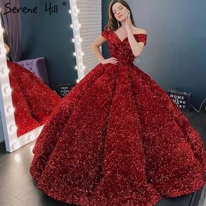 Image 3 - Serene Hill 2020 France Sweetheart Sexy Robe de mariée Burgundy Luxury Sparkling Sequins Off Shoulder Wedding Dress CHM66991