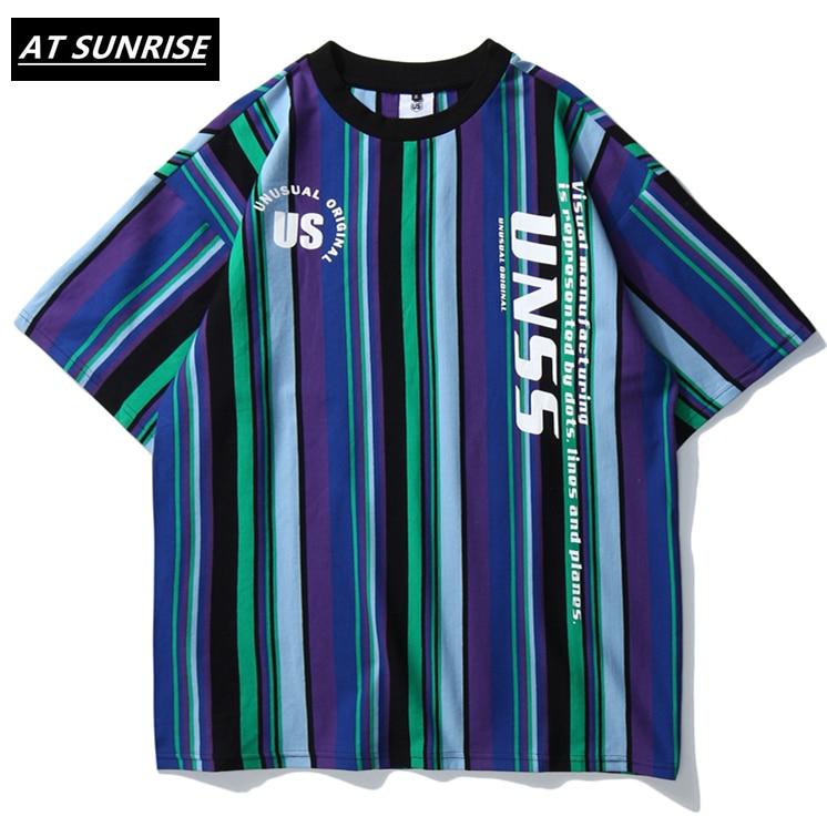 2020 Men Hip Hop T Shirt Vertical Stripes Retro T-Shirt Streetwear Harajuku High Street Tshirt Oversized Summer Black White Tops