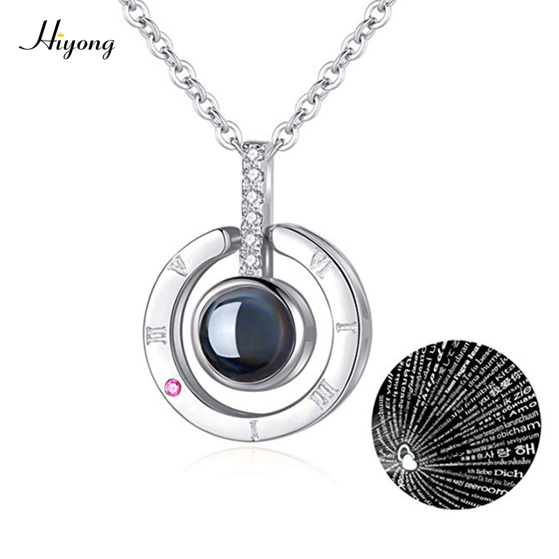Woman Necklace Love Memory Rose Gold Silver Projection Pendant 100 Languages I Love You to Lover Girlfriend Valentine's Day(China)
