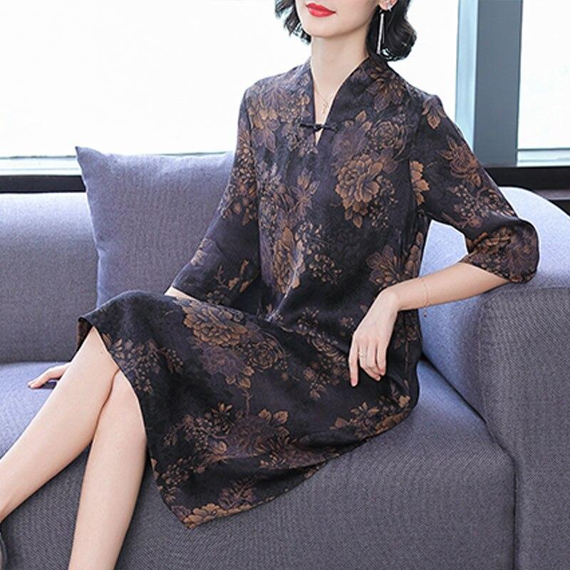 >2019 Free Shipping Female Summer Blockbuster Watered Gauze Dress <font><b>New</b></font> <font><b>Chinese</b></font> <font><b>Style</b></font> Printing Mulberry Silk Silk Long Women Dress