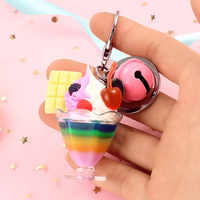 Cute Simulation Food ice cream Keychain PVC Cake Pendant Key Ring Key Chain for Women Girl Backpack Keyfob Birthday Gift