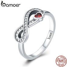 BAMOER 100% 925 argent Sterling infini amour pour toujours coeur clair bague de doigt pour les femmes de mariage bijoux de fiançailles SCR415