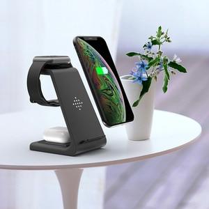 Image 3 - Carregador rápido 10W sem fio 3 em 1 QI, plataforma de carregamento para iPhone, fones da Samsung, Apple Watch 4 3 2 e Airpods Pro