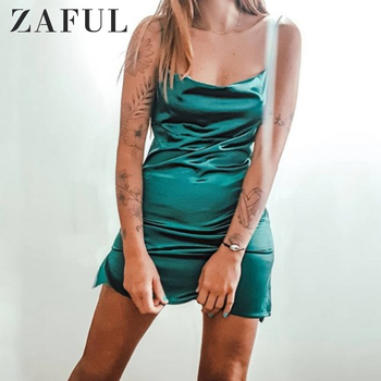цена на ZAFUL Women Side Slit Satin Mini Cami Dress Spaghetti Strap Spaghetti Strap Solid Color A-Line Pary Dress Sexy