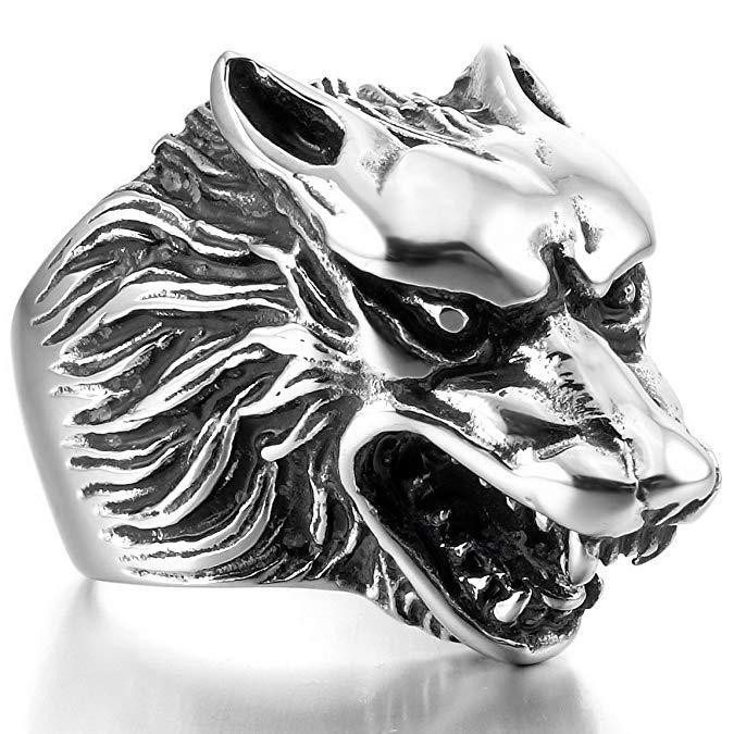 Vintage Punk Gothic Ring Men's Fashion Wolf Men's Ring Halloween Jewelry